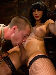 TsYasmin Lee ass n throat fucks bound straight guy dumping her cum in his mouth.