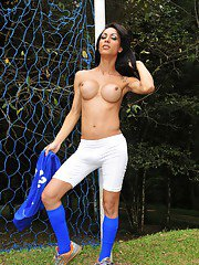 Sexy football tgirl Isabelle Potter stripping and posing