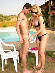 Lascivious shemale and filthy sissy having outdoor ass-pounding amusement