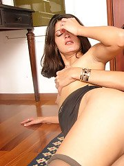 Lewd shemale and her girlfriend in soft silky hose getting naughty on floor