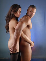 Cute transsexual Carmen playing with Robert