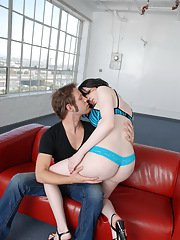 Amazing transsexual Sarina getting banged by Wolf