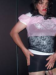 Watch this hot cross dresser flaunt goods for you