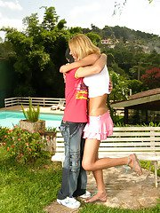 Hot outdoor ass-ramming bout with richly endowed shemale and her boyfriend