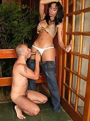 Busty shemale seducing muscle guy into frantic cock-sucking action outdoors