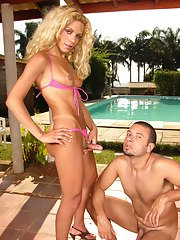 Shemales skimpy bikini cant conceal her boner aching for guys fresh ass