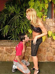 Blonde shemale greeting boyfriend with hot kisses and dip stick in panties