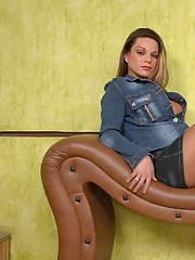 Steamy shemale revealing her hot nature while posing in her silky pantyhose