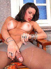 Lusty shemale cant hide her boner in her grey hose while posing on stool