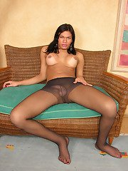 Luscious shemale pulling down her black tights a little to show her prick