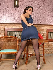 Naughty shemale in control top pantyhose craving to fondle her fiery cock