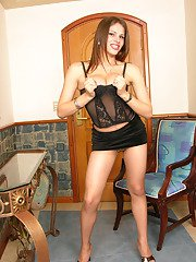 Irresistibly seductive shemale dripping cum on her barely visible pantyhose