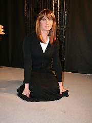 Hot Tgirl Lucimay in black dress tied and bound