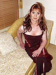 Luci in a very sleek red evening dress looking gorgeous