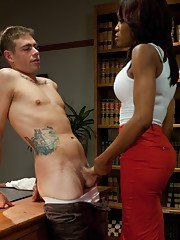 New TS Star rips her big dick free from her pantyhose to fuck a college guy. He kisses