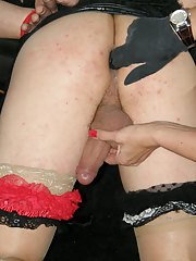Masked Tgirl gets fucked hard by Jane and her massive strapon