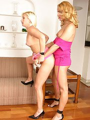 Naughty chick almost getting off while getting screwed by well-hung shemale