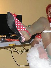 This crossdresser loves to play with his hard cock as he gets dressed up