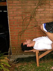 Hot shemale and a guy mastering cock-sucking and assfucking skills outdoors