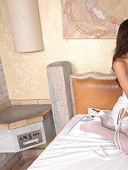 Sizzling hot shemales in soft silky stockings getting down and dirty in bed