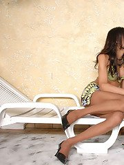Lusty shemales in flesh-colored pantyhose traveling down route sixty-nine
