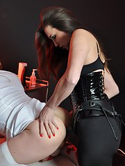 Strapon Jane bends over a TGirl nurse and fucks her hard