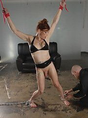 Tied up Jasmine Jewels getting washed by a guy