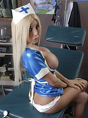 Big titted Kimber James posing as a naughty nurse