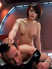 Ts Dom Eva Lin uses her cock and whip to own her slave boy. She makes him kiss her