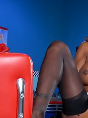 Hot Ebony Natassia Dreams strips and plays her candy stick