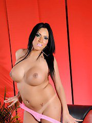 Big titted transsexual Marjorie stripping