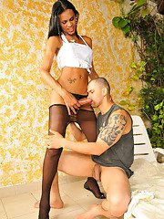 Stunning shemale in black pantyhose shoving her stiff tool into guys butt