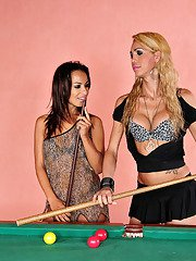 Ladyboy in white hose putting to work her stiff cue on the billiard table