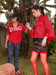 Passionate ladyboy in red stockings having fucking entertainment with a guy