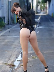 Gorgeous Jonelle posing in the alley