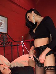 Alisha spreads her lips takes Venus cock into her mouth then her pussy. Ts Venus