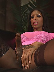 Natassia is Top Transsexual Dom in this super hot cream pie cum eating ass stretching