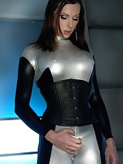TS Eva Cassini Latex Katie St. Ives fucking in the sci-fi future. Quick futuristic