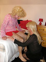 Living Doll TGirl gets fucked and sucked by a femdom and a crossdresser.