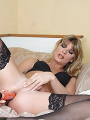 Hot Angelina toying her tight ass in sexy stockings