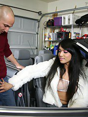 Jessica seducing a mechanic with her hard cock