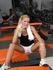 Hot TS Melina having some fun in the gym