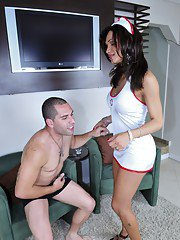 Cute shemale nurse banging her patient
