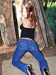 busty shemale Adriana Rodrigues stripping jeans outdoors showing her fat cock