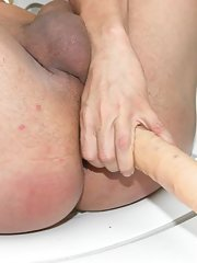 Sashenka inserting a double dildo in her nasty dirty ass