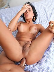 Juliana Soares loves getting a hard pounding in her shemale ass!