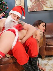 Sexy Tori Mayes finds a very bad Santa resting up next to her tree! She decides to