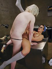 Rich Bitch with a nice cock gives a sleazy mechanic her own kind of Lube job! Anal
