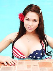 Exotic Transsexual Babe showing off her Perfect Body at the pool