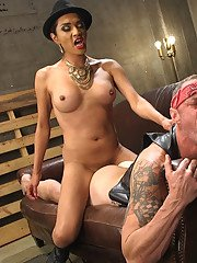 TS Boss Bitch Jessica Fox gives newbie gang member a taste of her hard hungry cock!